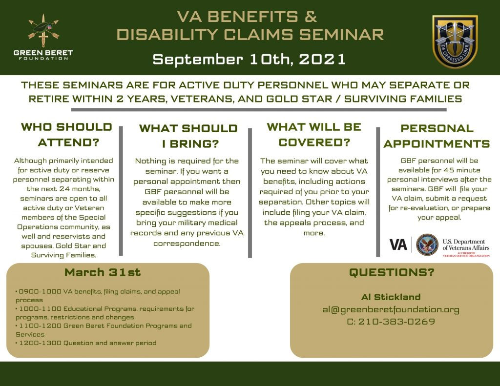 1st Special Forces Group VA Benefits and Claims Seminar