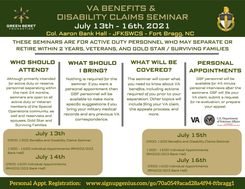 Fort Bragg VA Benefits and Claims Seminar
