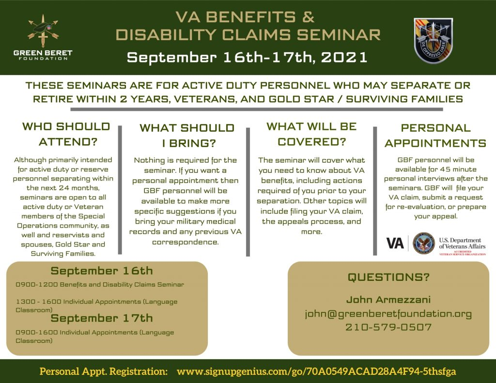 5th Special Forces Group VA Benefits and Claims Seminar